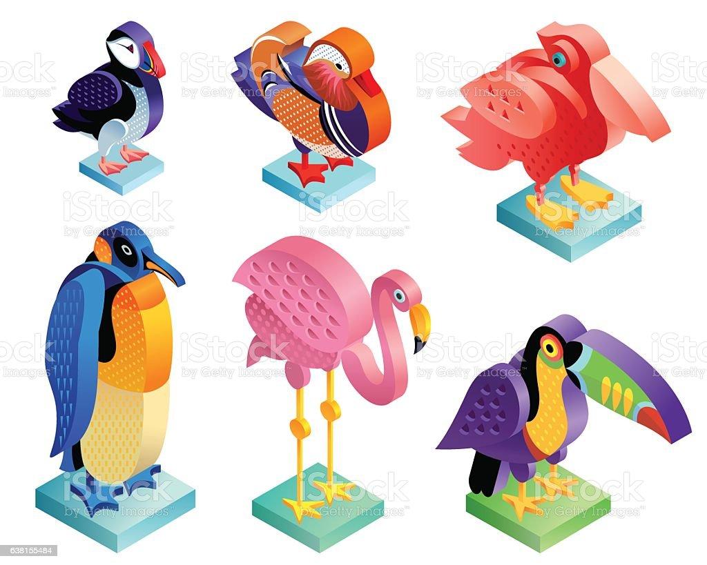 set of isometric birds stock vector art 638155484 istock