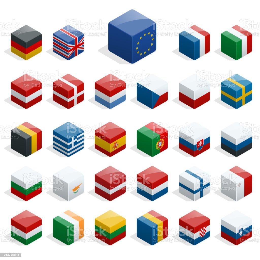 Reihe von isometrischen Boxen mit Fahnen. Einfache Container mit Standards. – Vektorgrafik
