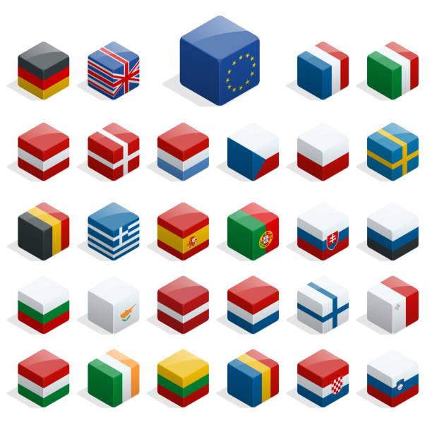 reihe von isometrischen boxen mit fahnen. einfache container mit standards. - flagge polen stock-grafiken, -clipart, -cartoons und -symbole