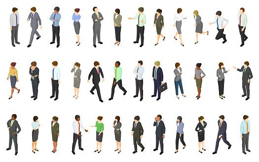 Set of isometric business people