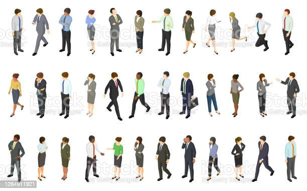 Set Of Isometric Business People Stock Illustration - Download Image Now