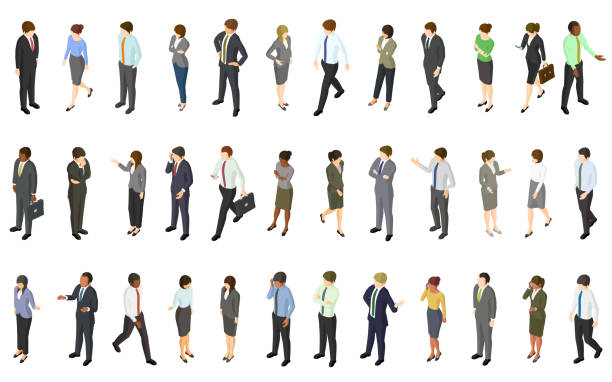 Set of isometric business people vector art illustration