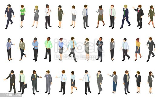 Set of isometric business people. Created with adobe illustrator.