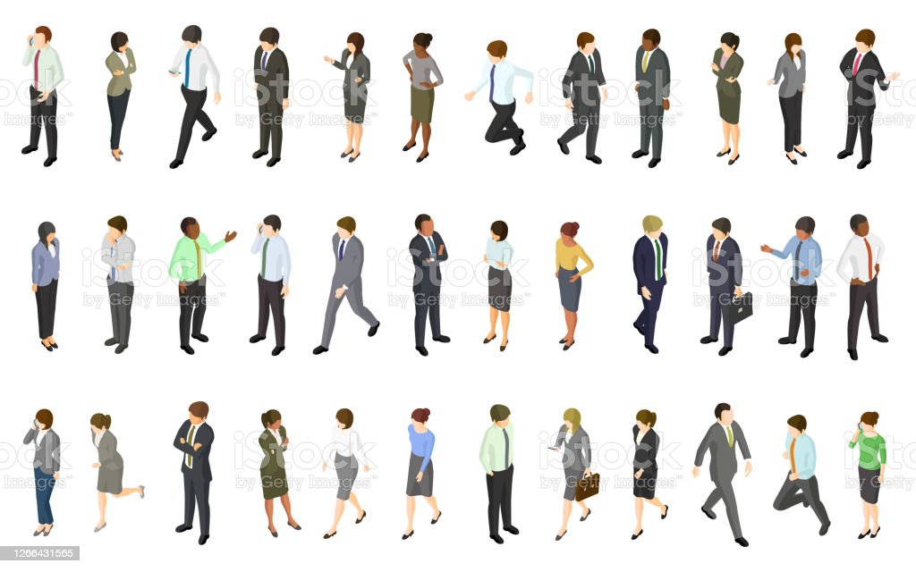 Set of isometric business people Set of isometric business people. Created with adobe illustrator. Adult stock vector