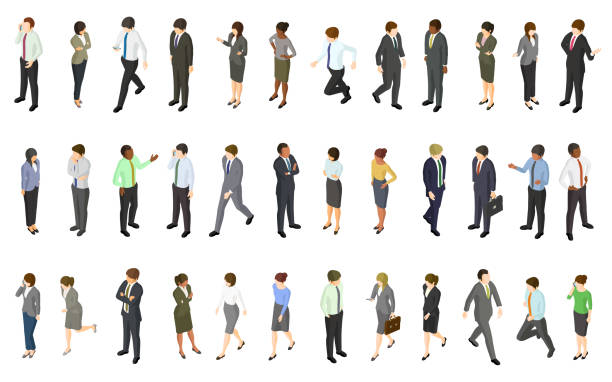 Set of isometric business people vector art illustration