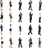 Set of isometric businessmen isolated on white background.