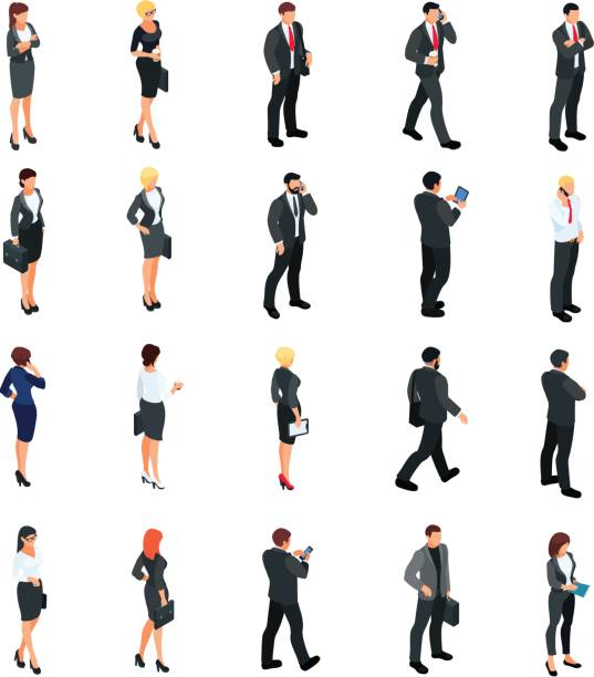 illustrazioni stock, clip art, cartoni animati e icone di tendenza di set of isometric businessmen isolated on white background. - business man