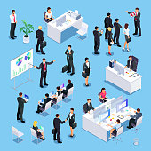 Set of isometric businessmen. Office workers at the tables, people in training, lecturer, secretary, businessmen shake hands. 3d business concept employment. Vector illustration.