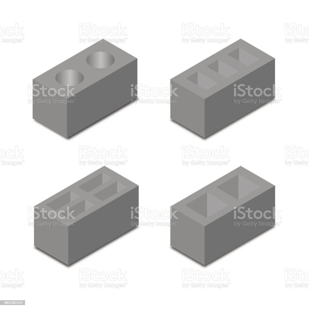 A set of isometric cinder blocks, vector illustration. vector art illustration
