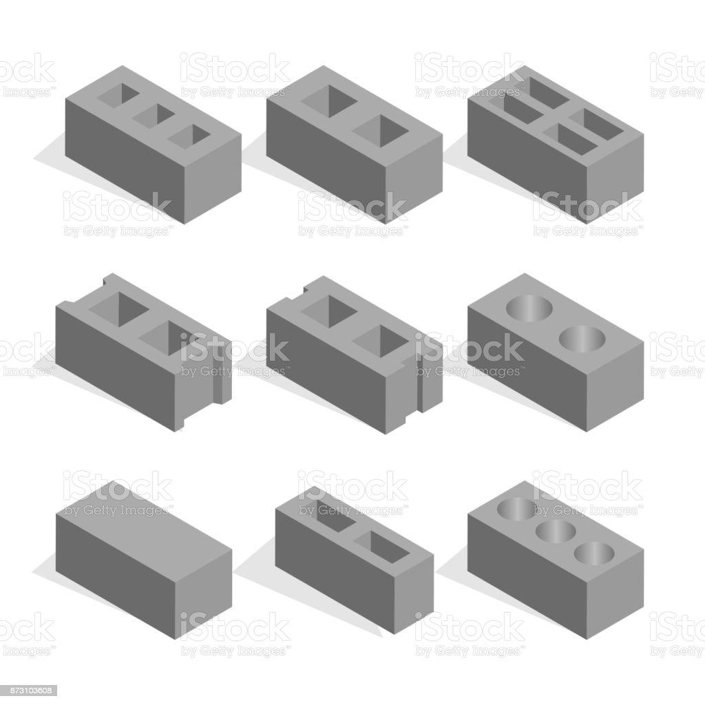 Set of isometric cinder blocks, vector illustration. vector art illustration