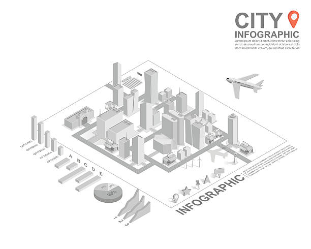 Set of isometric city infographic, vector Set of isometric city infographic, vector personal land vehicle stock illustrations