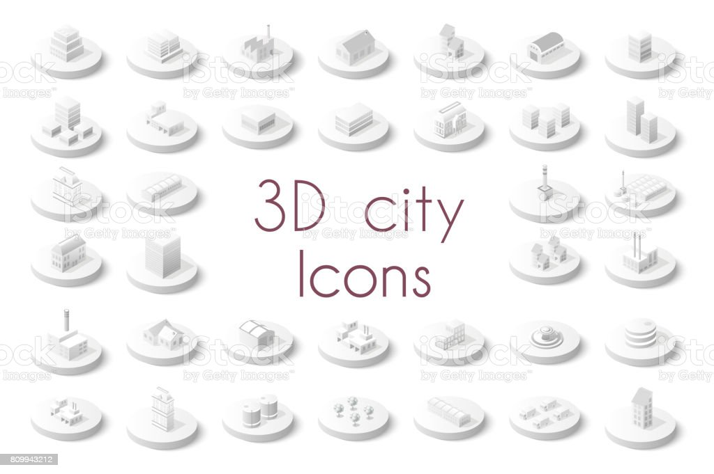 Set of isometric city vector art illustration