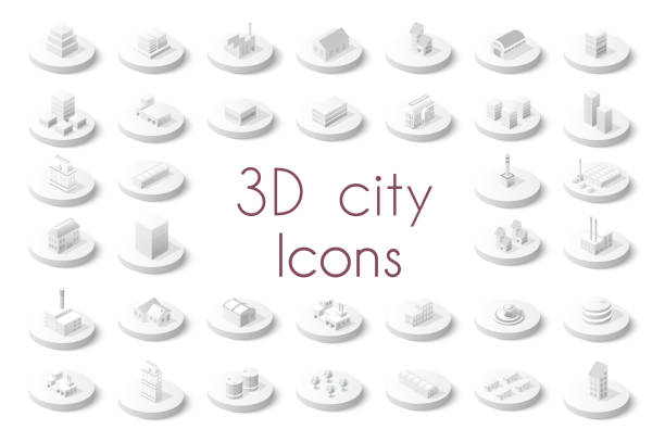 set of isometric city - architecture silhouettes stock illustrations