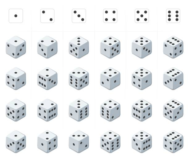 set of isometric dice vector. - dice stock illustrations, clip art, cartoons, & icons