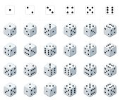 Set of isometric dice vector.