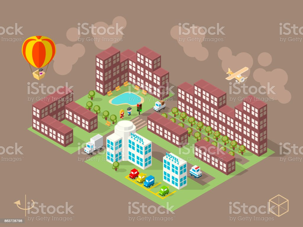 Set of Isometric High Quality City Element on Brown Background vector art illustration