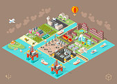 Set of Isometric High Quality City Element on Brown Background