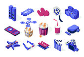 Set of isometric icons. Cinema and movies. Popcorn, cola, 3d eyeglasses, online watching, hearts, camera, credit cards, tickets, drone, projector, loudspeakers. Flat illustration on a white background