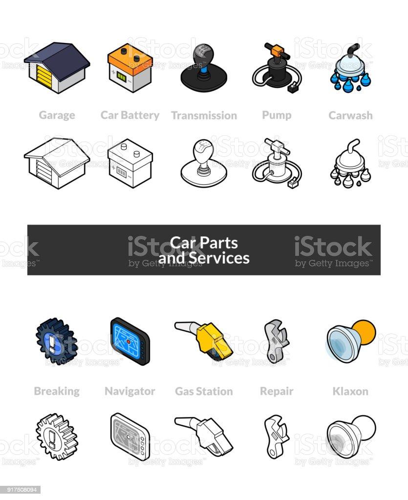 Reihe von isometrischen Icons im Umriss-Stil, farbige und schwarze Versionen – Vektorgrafik