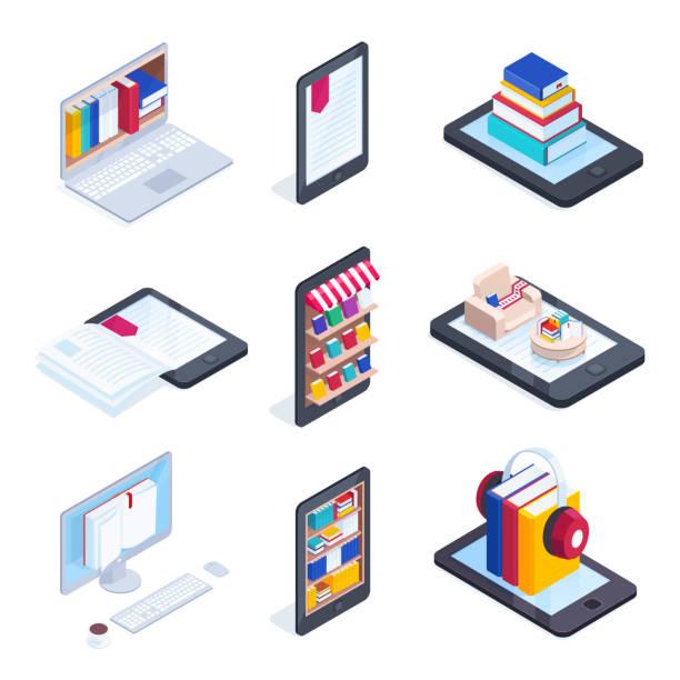Set of isometric icons of e-books. vector art illustration