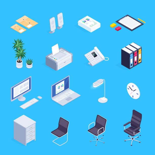 set von isometrischen icons von bürogeräten. - büromaterial stock-grafiken, -clipart, -cartoons und -symbole
