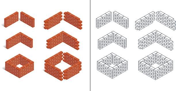 illustrations, cliparts, dessins animés et icônes de ensemble d'icônes isométriques - mur d'enceinte