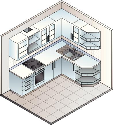 Set of Isometric kitchen