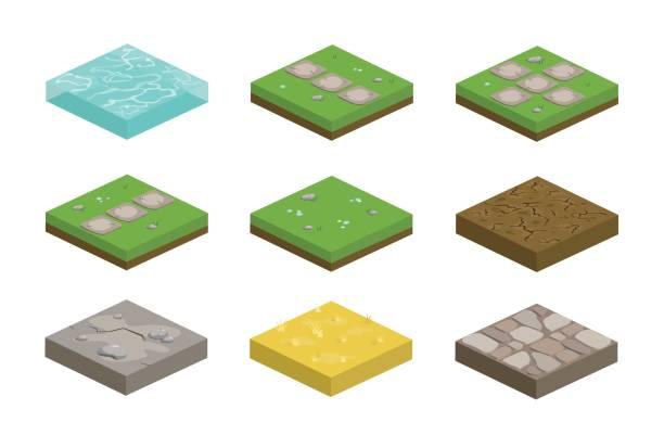 satz von isometrische landschaft designfliesen mit unterschiedlichen oberflächen - rasen, wasser, schmutz, stein, pflaster und teile für die erstellung von pfad - steinpfade stock-grafiken, -clipart, -cartoons und -symbole