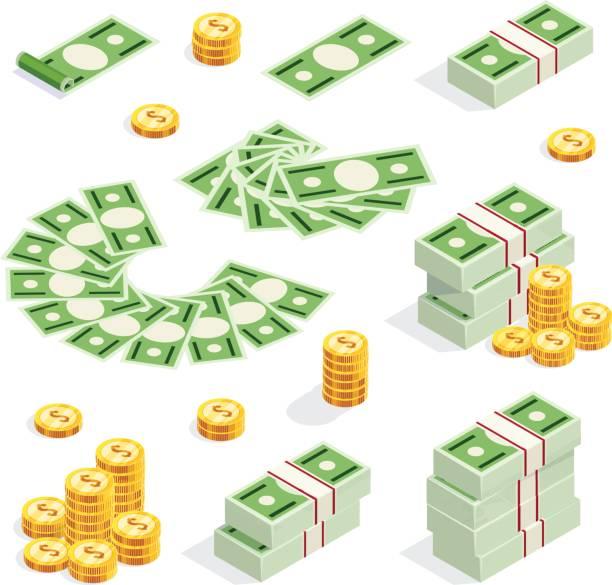 set of isometric money isolated on white background. - dollar bill stock illustrations