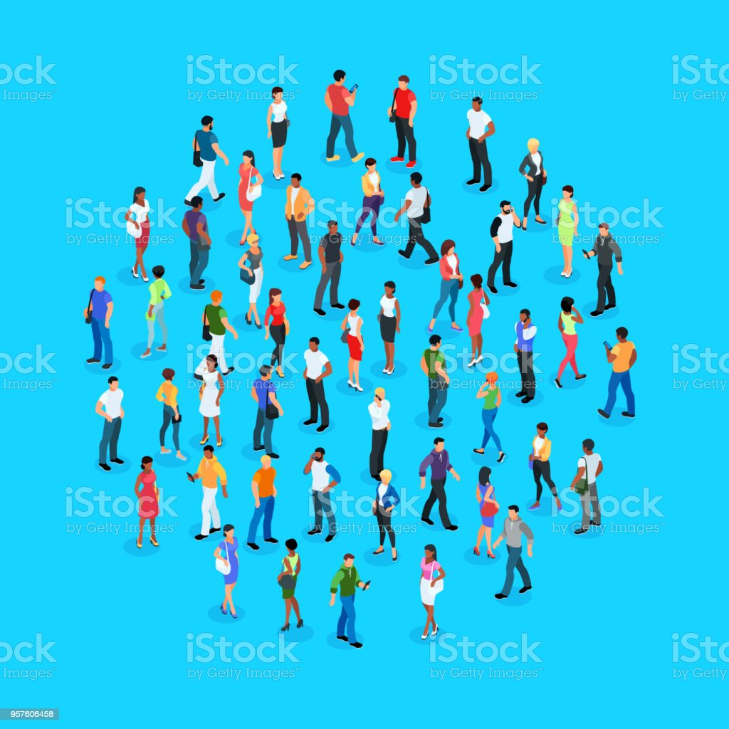 Set of isometric people with different skin color. royalty-free set of isometric people with different skin color stock illustration - download image now