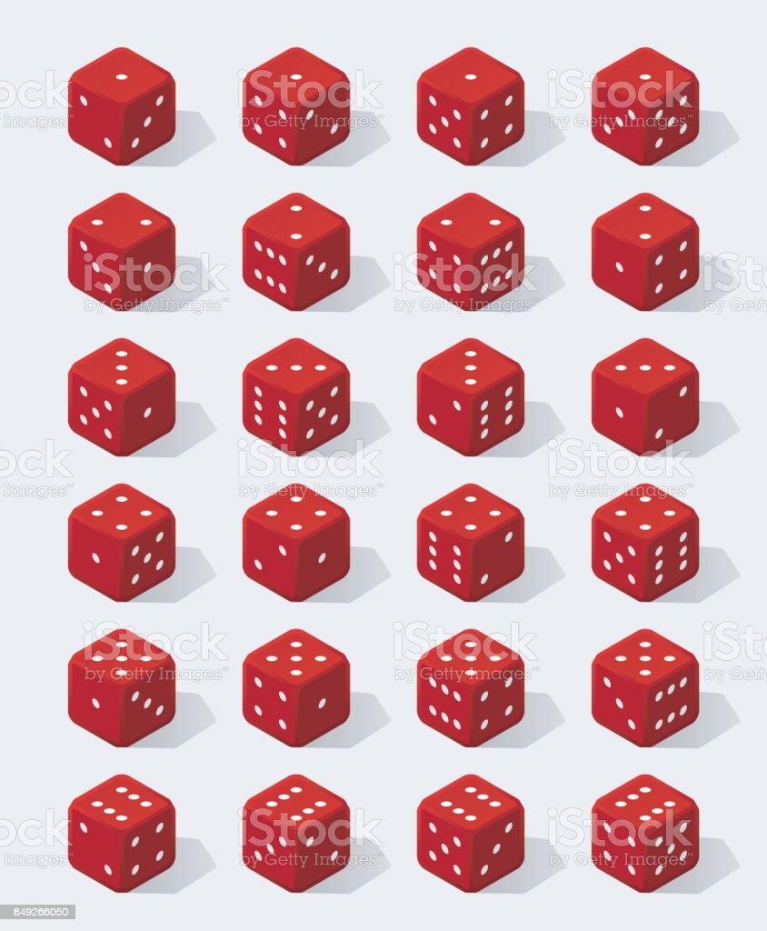 Set of isometric red dice vector art illustration