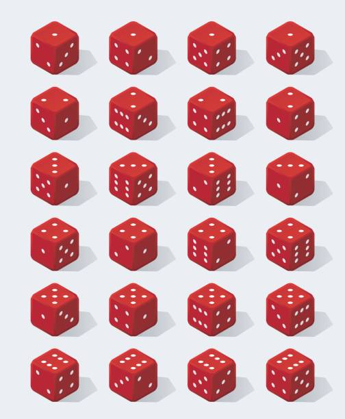 set of isometric red dice - dice stock illustrations, clip art, cartoons, & icons