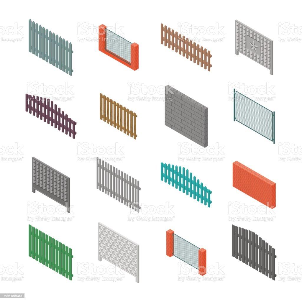 A set of isometric spans fences, vector illustration. vector art illustration
