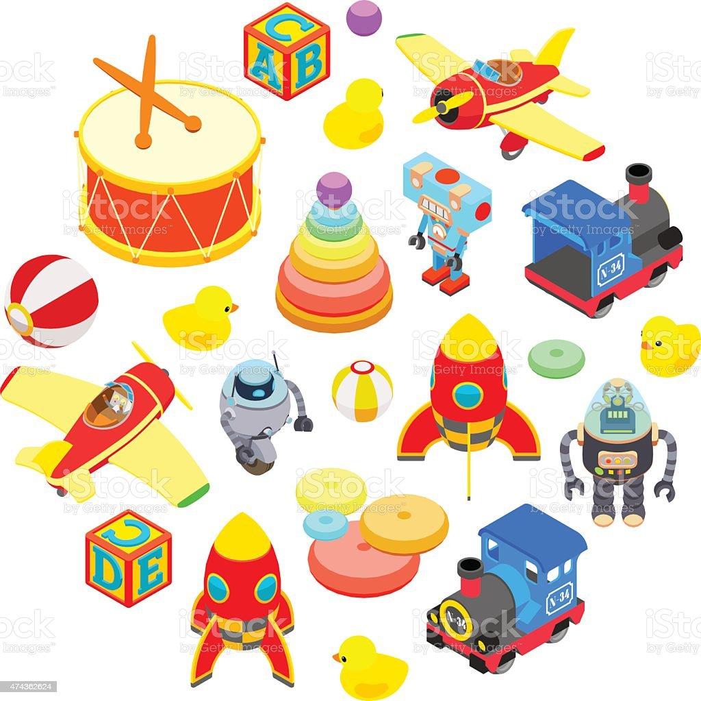 Set of isometric toys vector art illustration