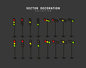 set of isometric traffic lights. vector illustration