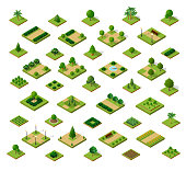 Set of 3D isometric urban parks. City natural ecological landscapes of town infrastructure. Trees lawns garden paths and benches the dimensional kit of items for construction of conceptual project design