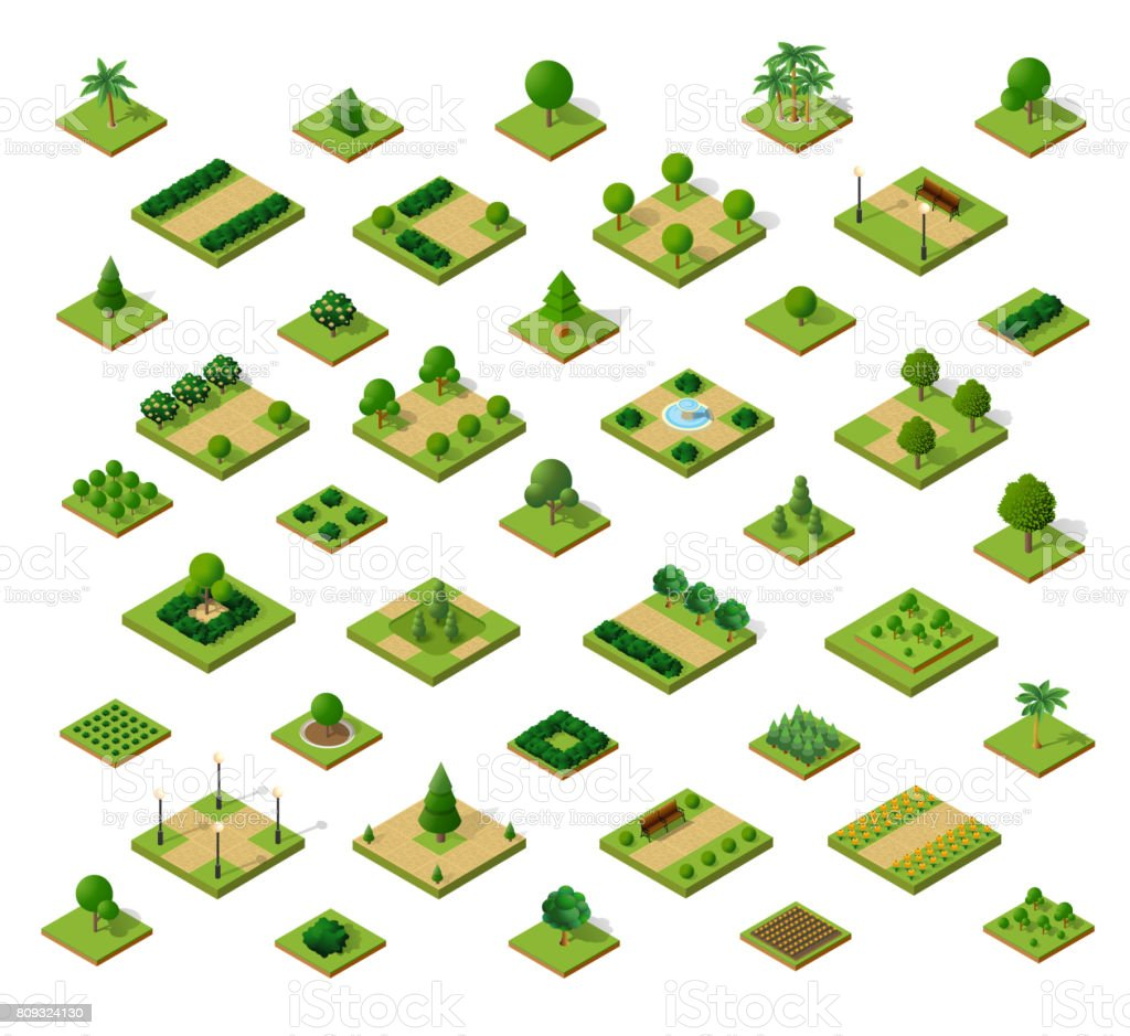 Set of isometric urban parks vector art illustration