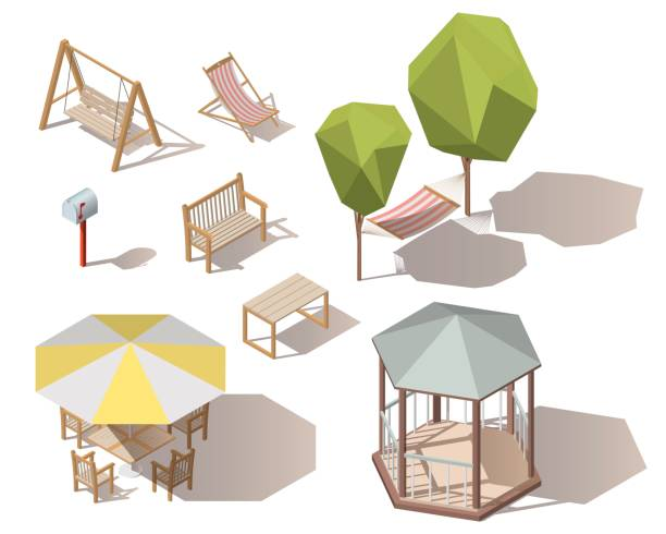 Set of isometric vector outdoor objects.Wooden table,mailbox,letterbox, hammock between two trees,bench,umbrella with table and chairs,chaise-lounge ,chair, alcove, hanging on frame porch swing bench Set of isometric vector outdoor objects.Wooden table,mailbox,letterbox, hammock between two trees,bench,umbrella with table and chairs,chaise-lounge ,chair, alcove, hanging on frame porch swing bench pavilion stock illustrations
