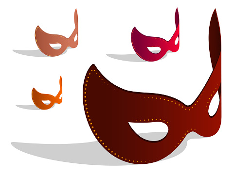 set of Isometric Venetian carnival eye mask. Theatrical female mask. Realistic 3D vector isolated on white background