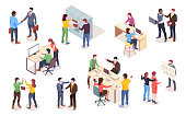 Set of isometric view businessman and businesswoman making deal and presentation. Vector people doing notebook work or computer job, employee at coworking space. Office man and woman