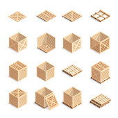 Set of isometric wooden boxes and pallets.