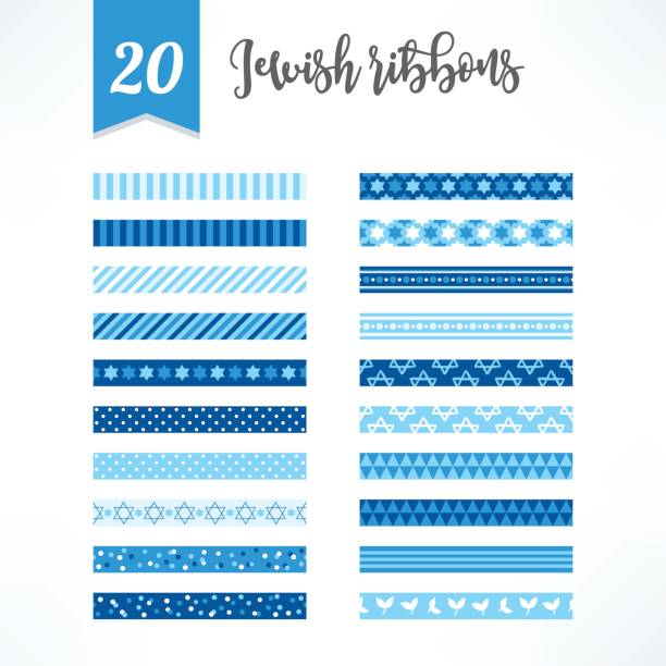 set of israel seamless ribbons with jewish star, dots, stripes - israel independence day stock illustrations, clip art, cartoons, & icons
