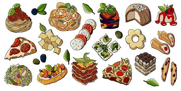 Set of Italian cuisine dishes.