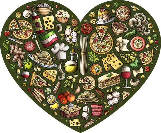 satz von italienischen lebensmittel cartoon doodle objekte, symbole und gegenstände - risotto stock-grafiken, -clipart, -cartoons und -symbole