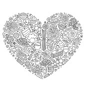 Line art vector hand drawn set of Italian food cartoon doodle objects, symbols and items. Heart form composition