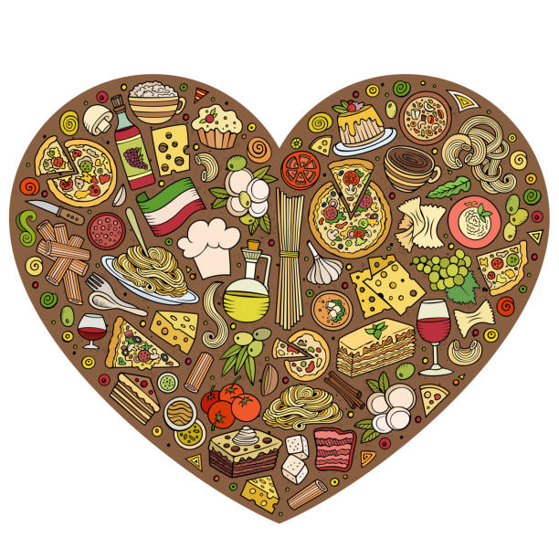 illustrations, cliparts, dessins animés et icônes de set of italian food cartoon doodle objects, symbols and items - risotto