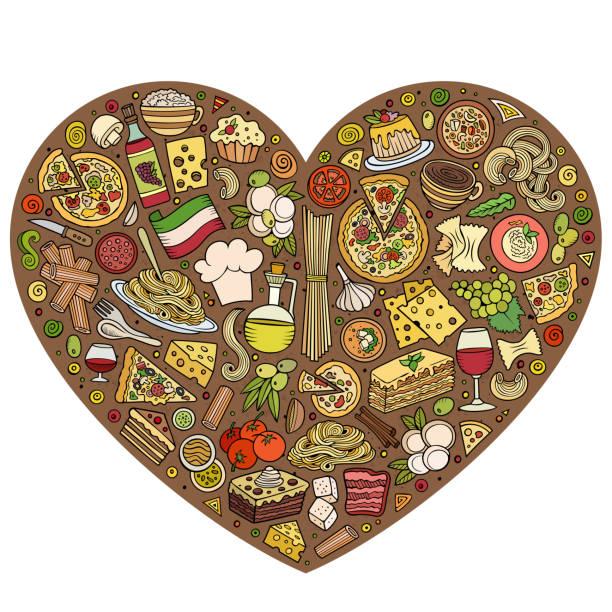 set of italian food cartoon doodle objects, symbols and items - risotto stock-grafiken, -clipart, -cartoons und -symbole