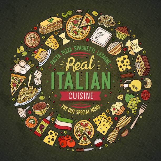 satz von italienisches essen cartoon doodle objekte, symbole und elemente - risotto stock-grafiken, -clipart, -cartoons und -symbole