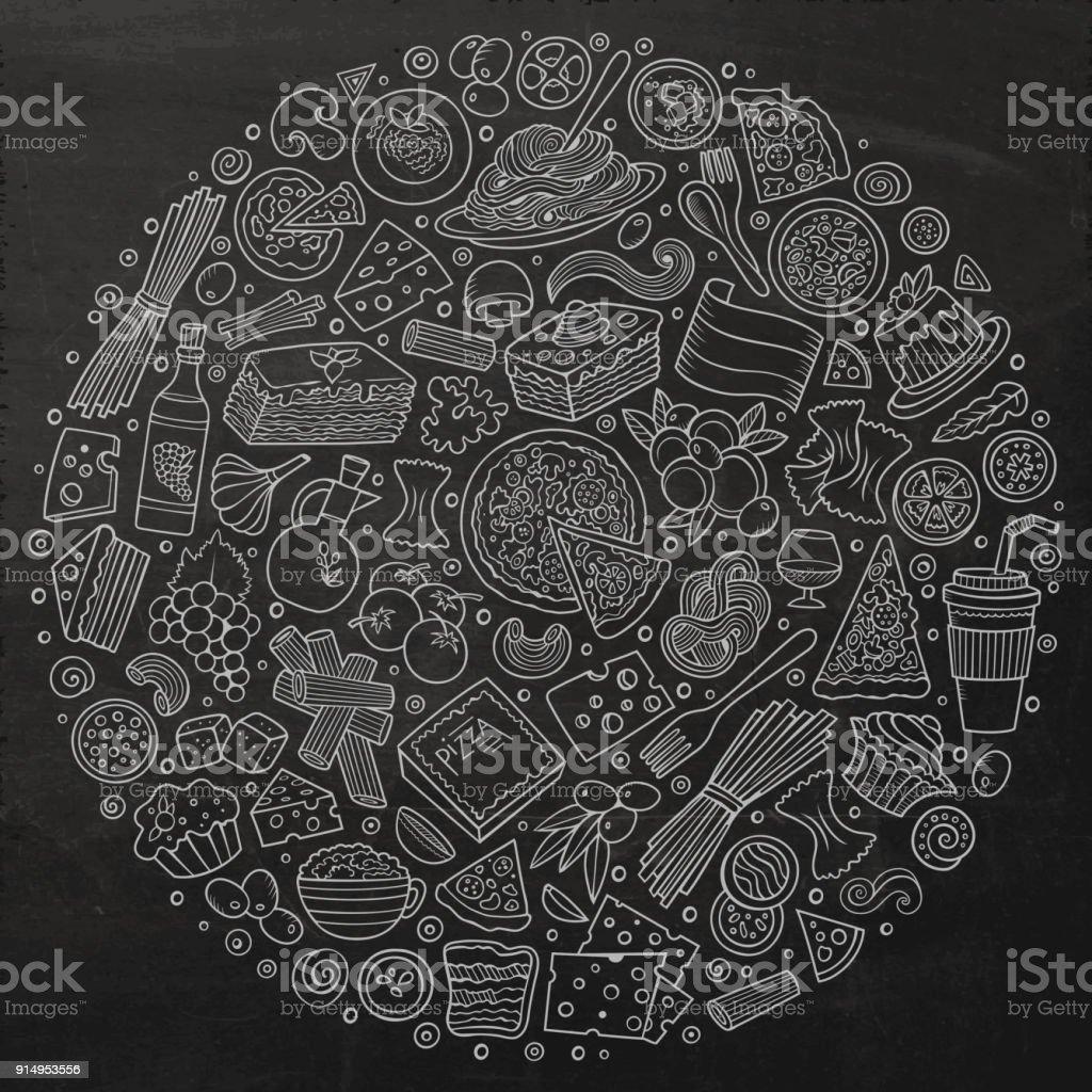 Satz von italienisches Essen Cartoon doodle Objekte, Symbole und Elemente – Vektorgrafik
