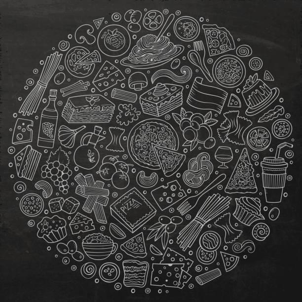illustrations, cliparts, dessins animés et icônes de série de dessin animé cuisine italienne doodle objets, symboles et éléments - risotto